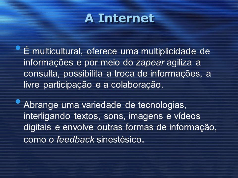 A Internet É multicultural, oferece uma multiplicidade de informações e por meio do zapear agiliza a consulta, possibilita a troca de informações, a l