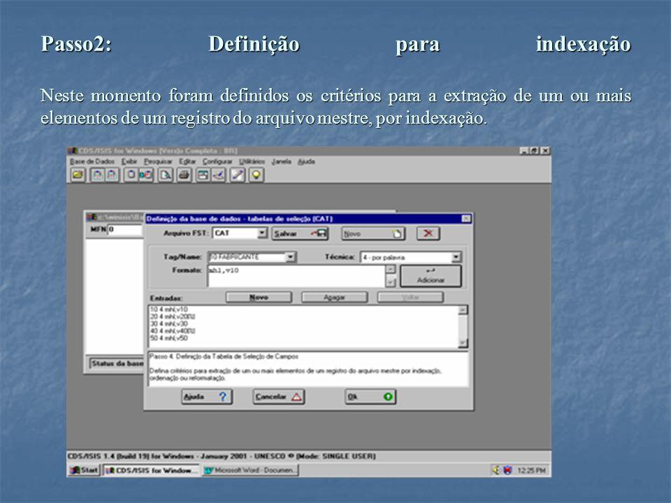 Passo2: Definição para indexação Neste momento foram definidos os critérios para a extração de um ou mais elementos de um registro do arquivo mestre, por indexação.