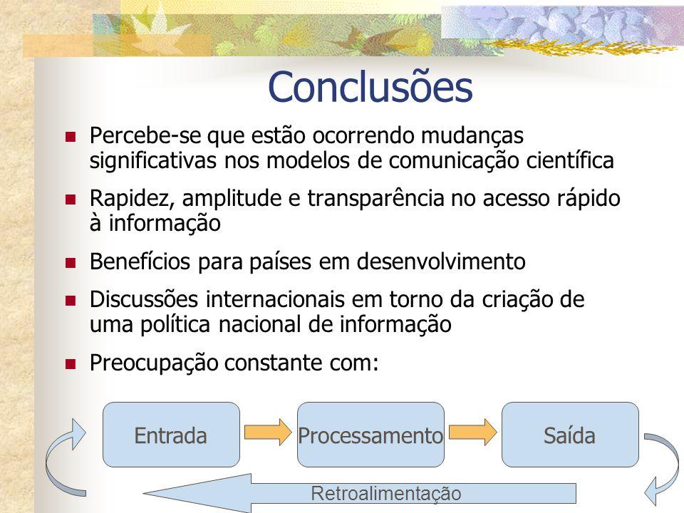 Conclusões Percebe-se que estão ocorrendo mudanças significativas nos modelos de comunicação científica Rapidez, amplitude e transparência no acesso r