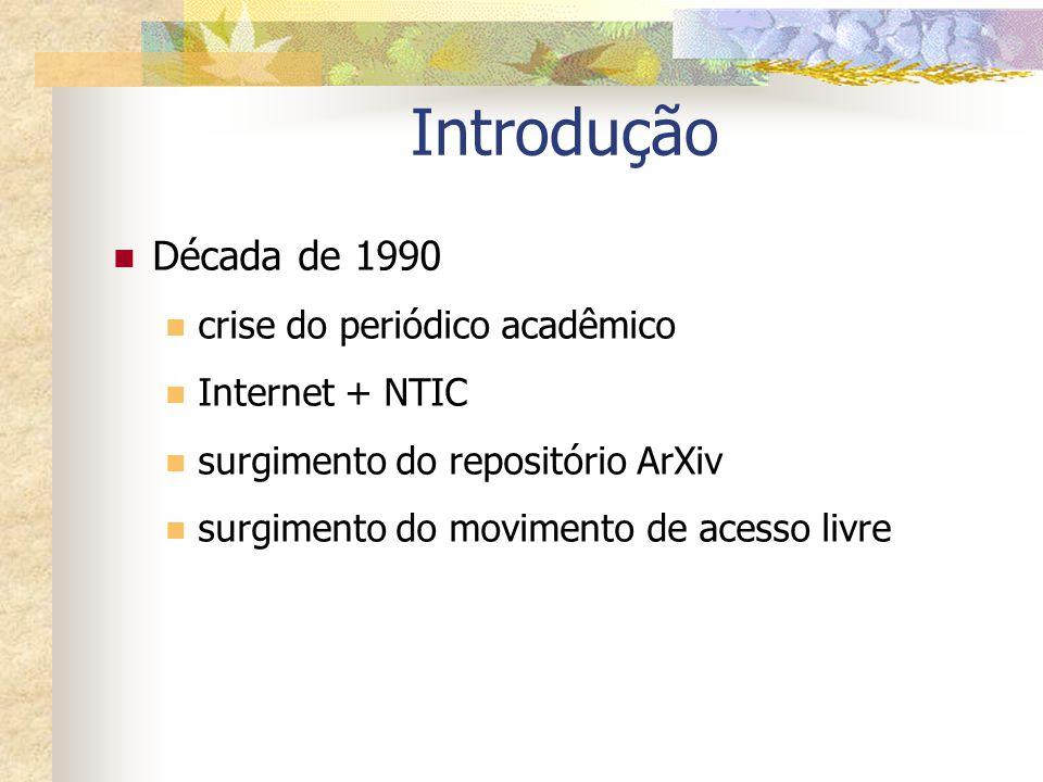 Introdução Década de 1990 crise do periódico acadêmico Internet + NTIC surgimento do repositório ArXiv surgimento do movimento de acesso livre