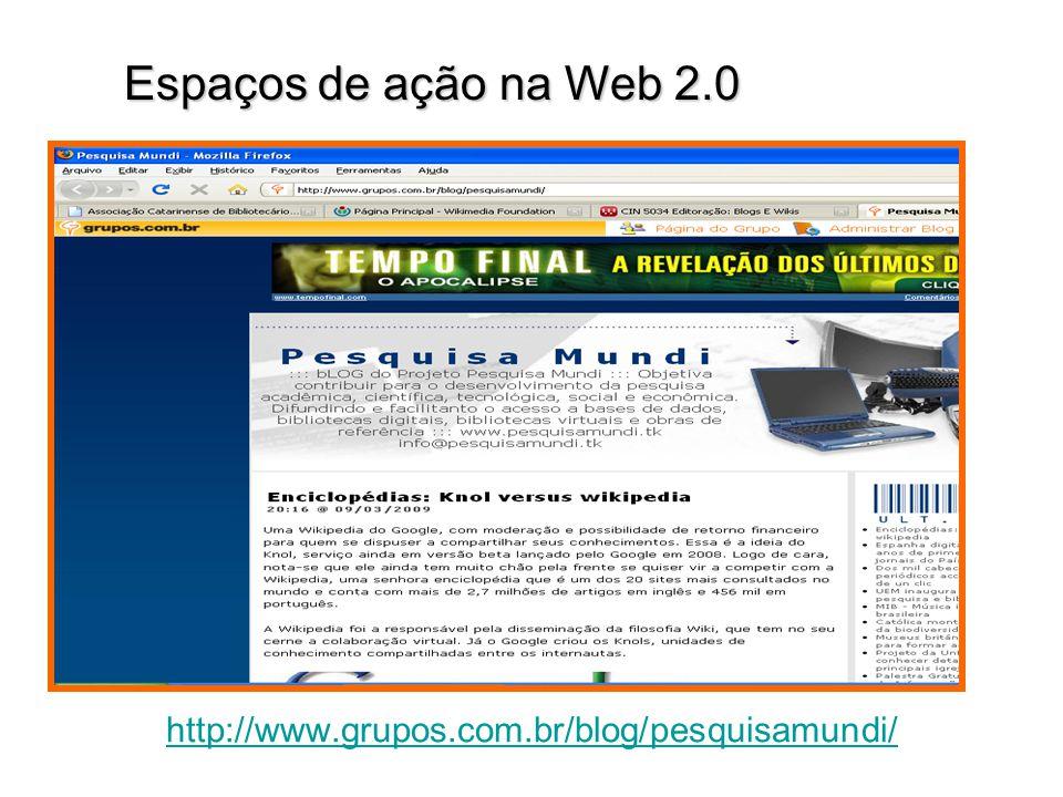 http://www.grupos.com.br/blog/pesquisamundi/ Espaços de ação na Web 2.0