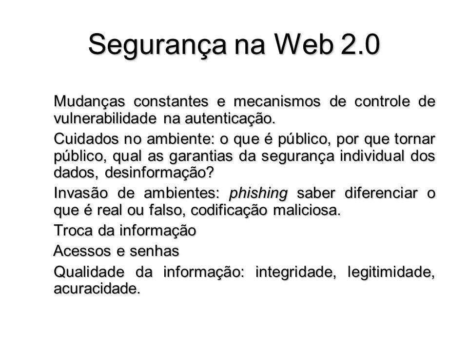 Segurança na Web 2.0 Mudanças constantes e mecanismos de controle de vulnerabilidade na autenticação. Cuidados no ambiente: o que é público, por que t