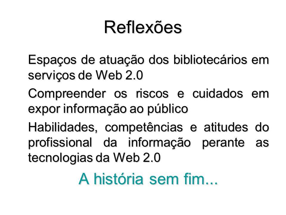 Reflexões Espaços de atuação dos bibliotecários em serviços de Web 2.0 Compreender os riscos e cuidados em expor informação ao público Habilidades, co
