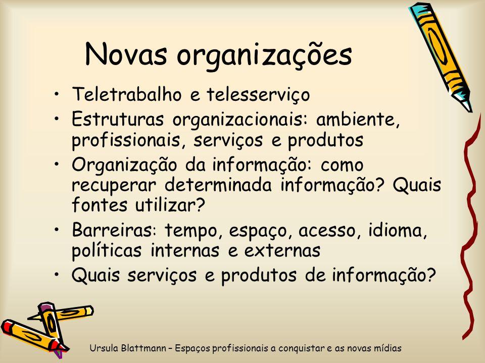 Ursula Blattmann – Espaços profissionais a conquistar e as novas mídias Novas organizações Teletrabalho e telesserviço Estruturas organizacionais: ambiente, profissionais, serviços e produtos Organização da informação: como recuperar determinada informação.