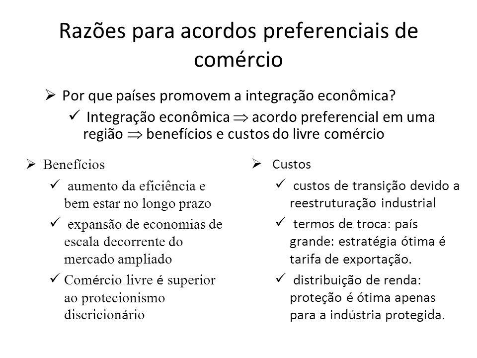 Razões para acordos preferenciais de comércio Por que países promovem a integração econômica.