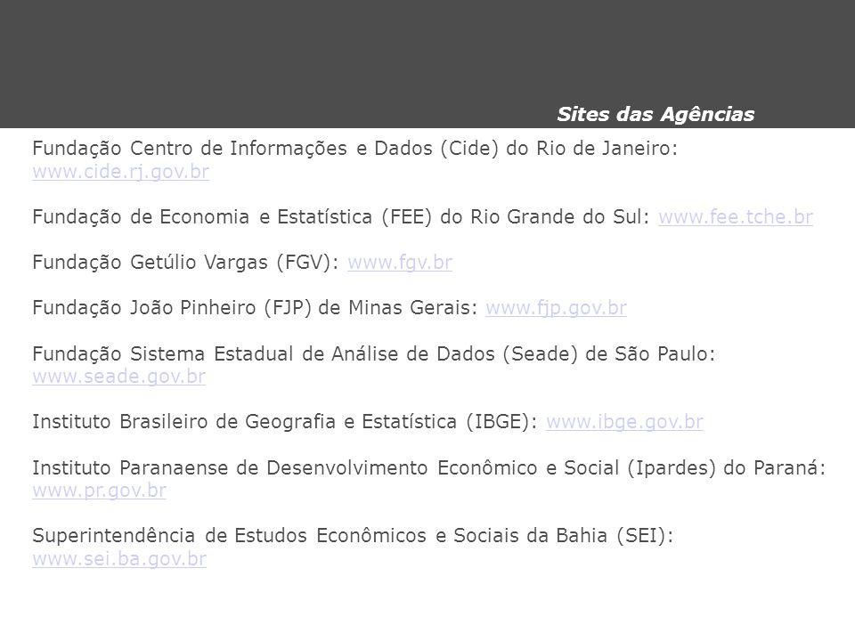 Fundação Centro de Informações e Dados (Cide) do Rio de Janeiro: www.cide.rj.gov.br Fundação de Economia e Estatística (FEE) do Rio Grande do Sul: www
