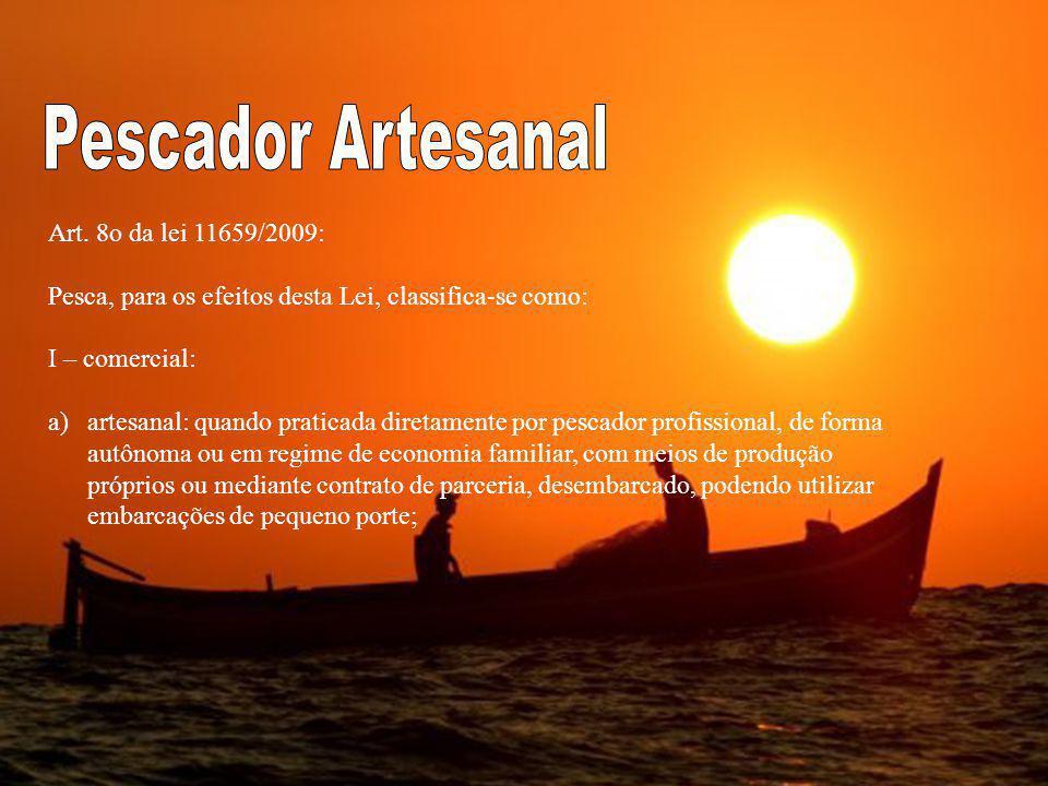 Art. 8o da lei 11659/2009: Pesca, para os efeitos desta Lei, classifica-se como: I – comercial: a)artesanal: quando praticada diretamente por pescador