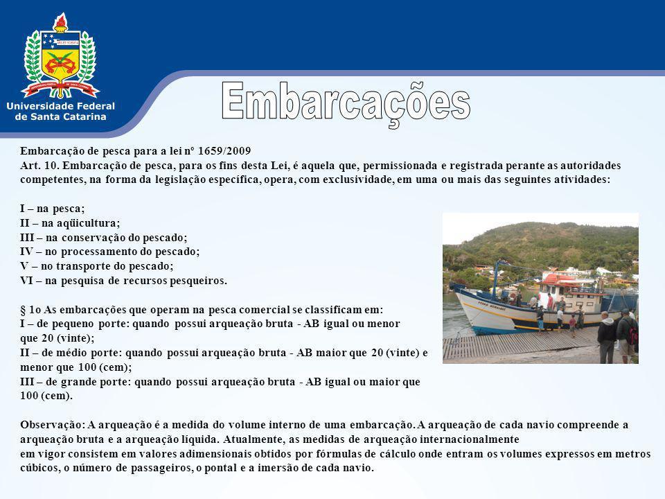 Embarcação de pesca para a lei nº 1659/2009 Art. 10. Embarcação de pesca, para os fins desta Lei, é aquela que, permissionada e registrada perante as