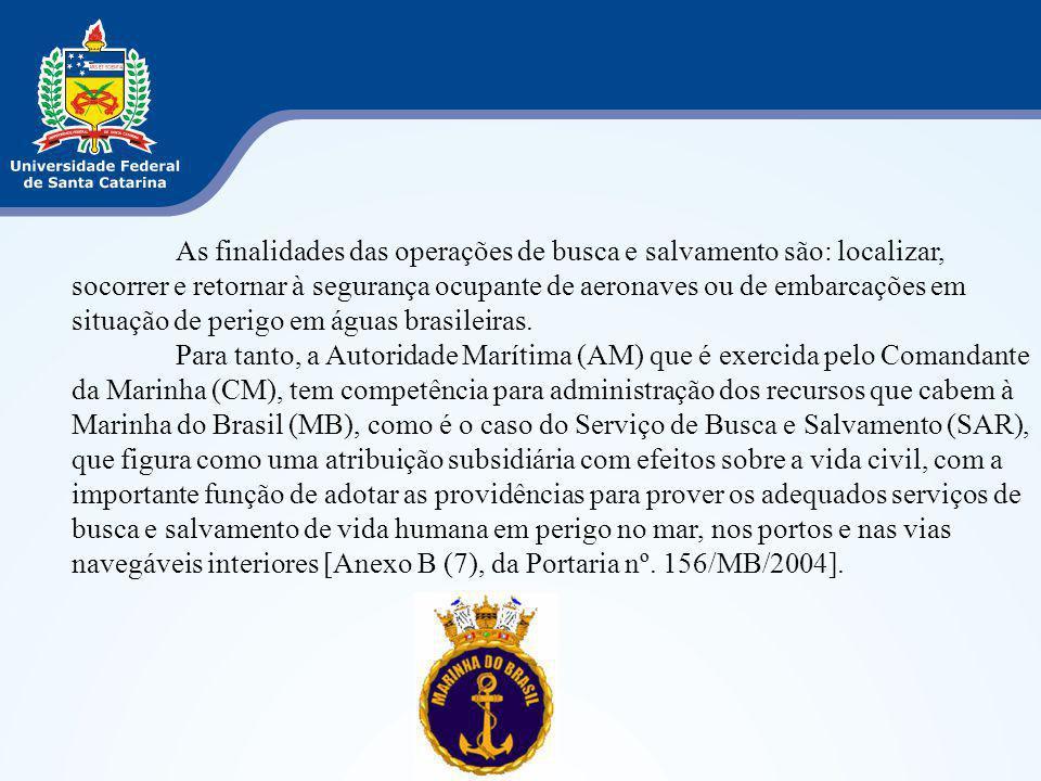 As finalidades das operações de busca e salvamento são: localizar, socorrer e retornar à segurança ocupante de aeronaves ou de embarcações em situação