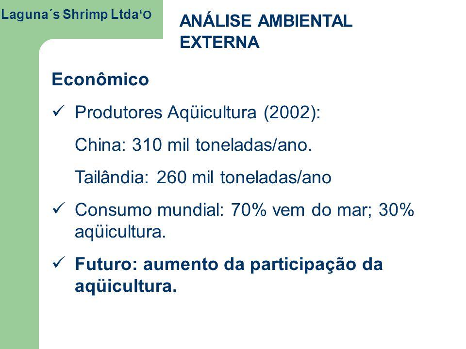 Laguna´s Shrimp Ltda O ANÁLISE AMBIENTAL EXTERNA Econômico Produtores Aqüicultura (2002): China: 310 mil toneladas/ano. Tailândia: 260 mil toneladas/a