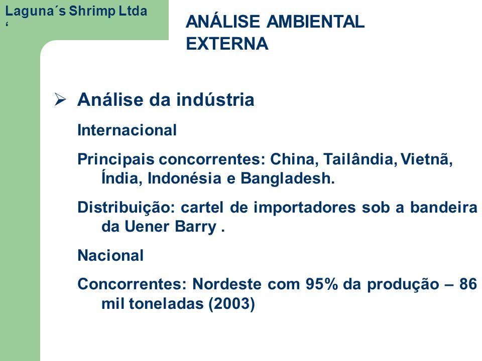 Laguna´s Shrimp Ltda ANÁLISE AMBIENTAL EXTERNA Análise da indústria Internacional Principais concorrentes: China, Tailândia, Vietnã, Índia, Indonésia