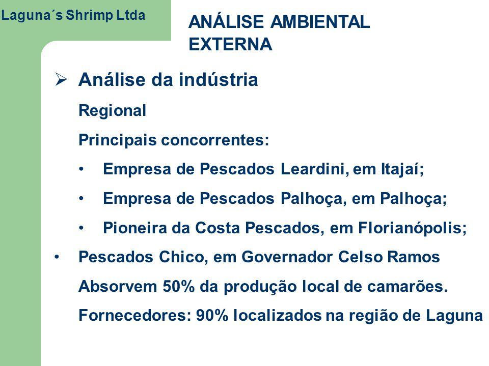Laguna´s Shrimp Ltda ANÁLISE AMBIENTAL EXTERNA Análise da indústria Regional Principais concorrentes: Empresa de Pescados Leardini, em Itajaí; Empresa