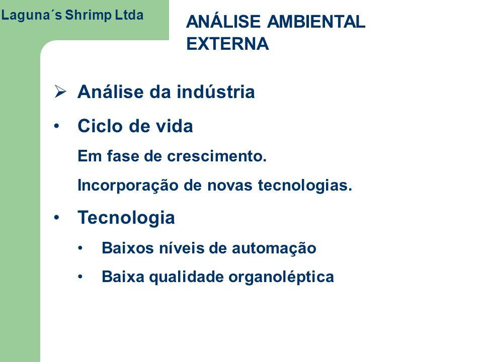 Laguna´s Shrimp Ltda ANÁLISE AMBIENTAL EXTERNA Análise da indústria Ciclo de vida Em fase de crescimento. Incorporação de novas tecnologias. Tecnologi