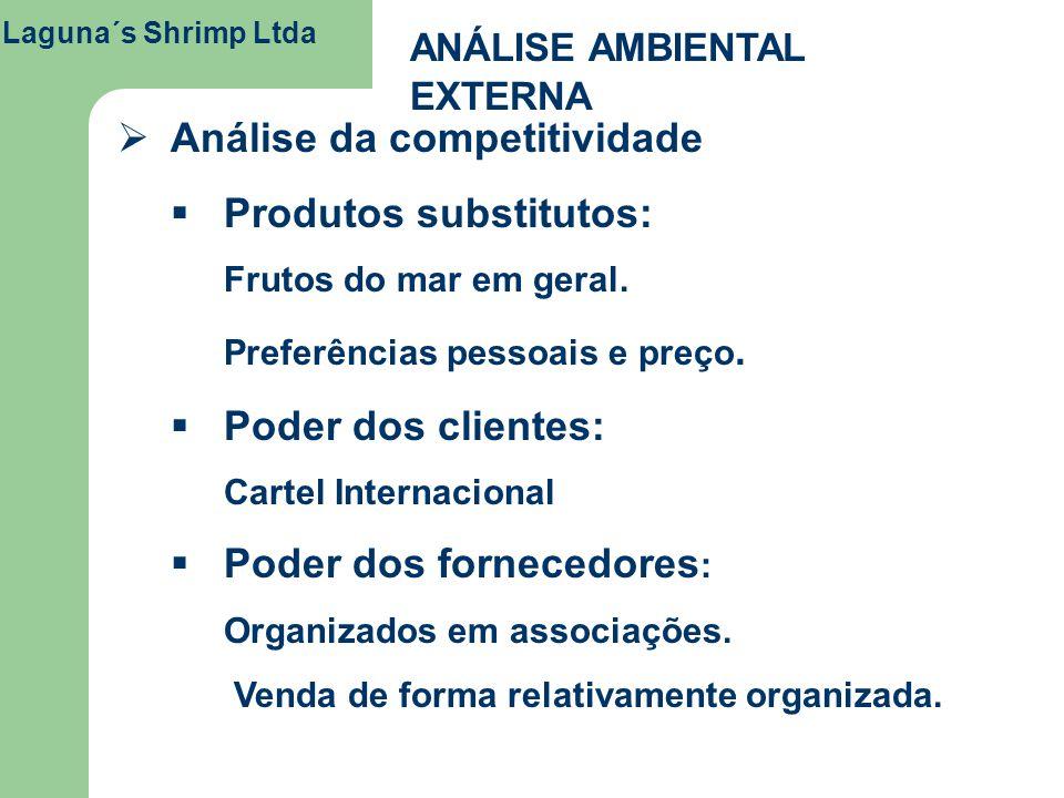 Laguna´s Shrimp Ltda ANÁLISE AMBIENTAL EXTERNA Análise da competitividade Produtos substitutos: Frutos do mar em geral. Preferências pessoais e preço.