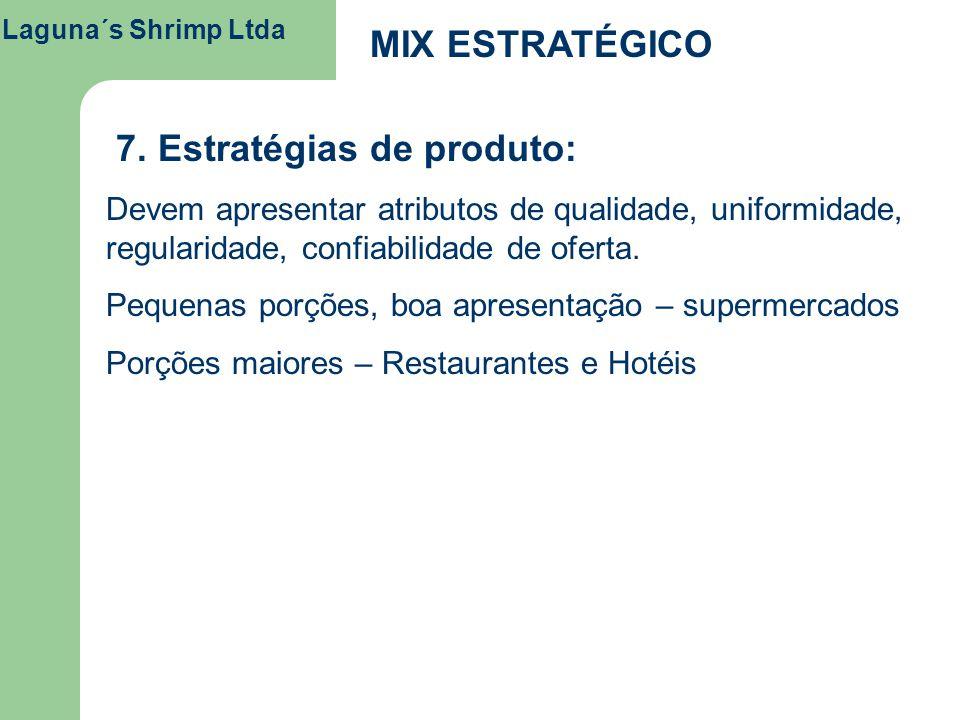 Laguna´s Shrimp Ltda MIX ESTRATÉGICO 7. Estratégias de produto: Devem apresentar atributos de qualidade, uniformidade, regularidade, confiabilidade de