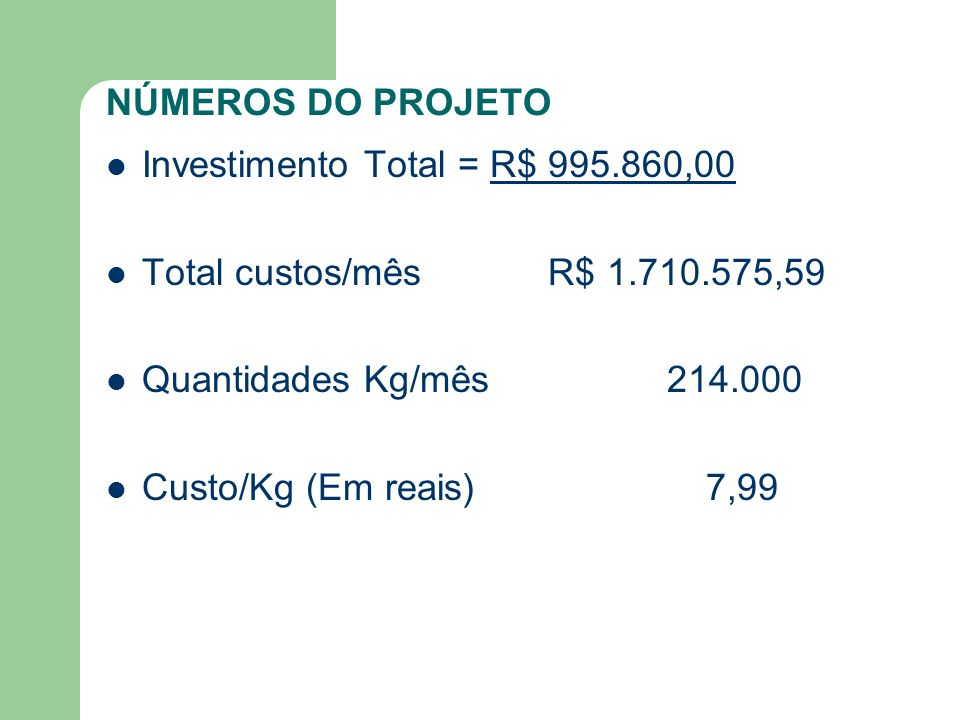 NÚMEROS DO PROJETO Investimento Total = R$ 995.860,00 Total custos/mês R$ 1.710.575,59 Quantidades Kg/mês 214.000 Custo/Kg (Em reais) 7,99