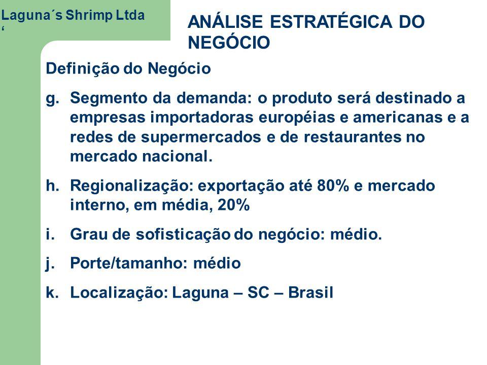 Laguna´s Shrimp Ltda ANÁLISE ESTRATÉGICA DO NEGÓCIO Definição do Negócio g. g.Segmento da demanda: o produto será destinado a empresas importadoras eu