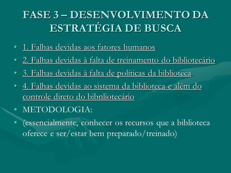 FASE 3 – DESENVOLVIMENTO DA ESTRATÉGIA DE BUSCA 1.