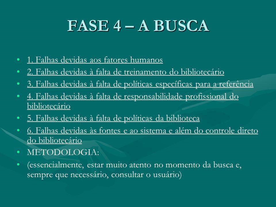 FASE 4 – A BUSCA 1.Falhas devidas aos fatores humanos 2.