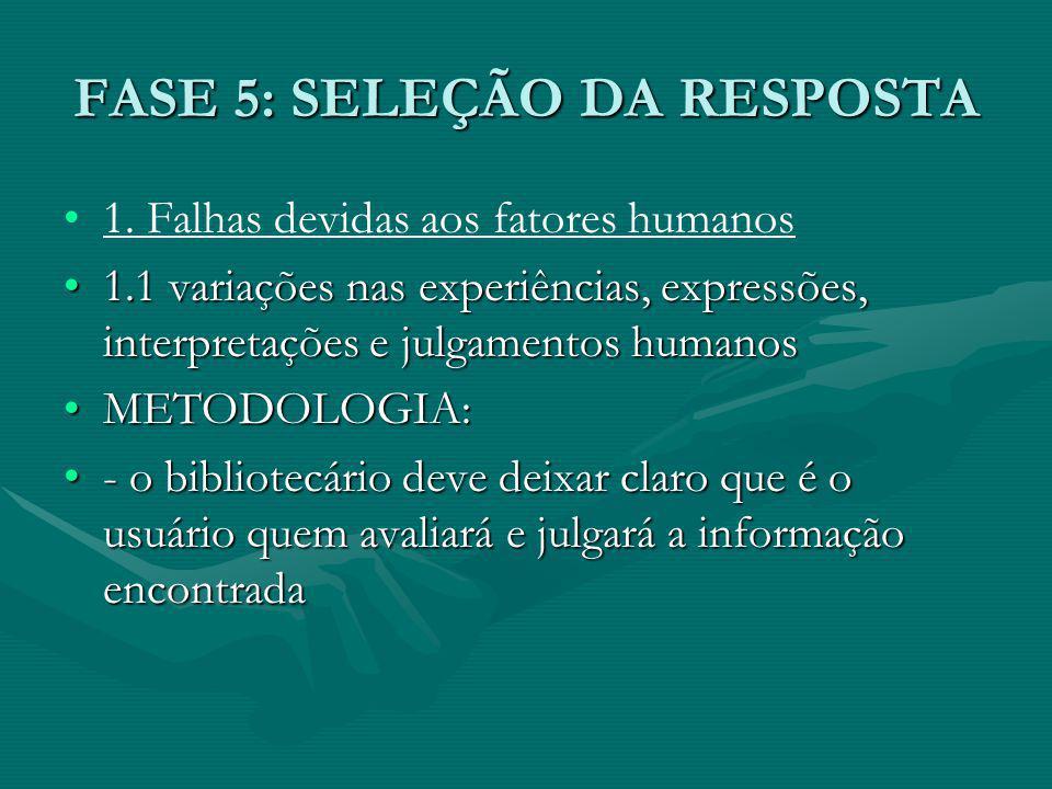 FASE 5: SELEÇÃO DA RESPOSTA 1.