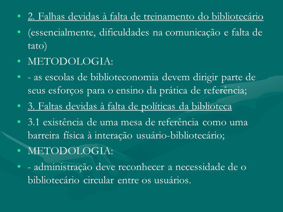 2. Falhas devidas à falta de treinamento do bibliotecário (essencialmente, dificuldades na comunicação e falta de tato) METODOLOGIA: - as escolas de b