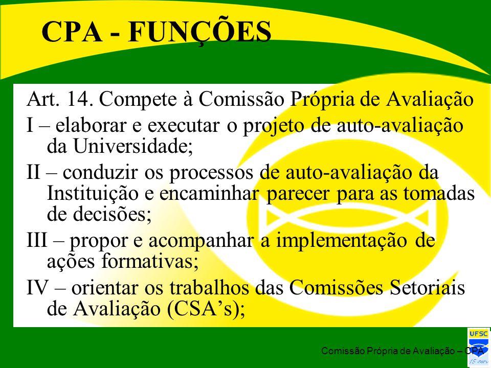 CPA - FUNÇÕES Art. 14. Compete à Comissão Própria de Avaliação I – elaborar e executar o projeto de auto-avaliação da Universidade; II – conduzir os p