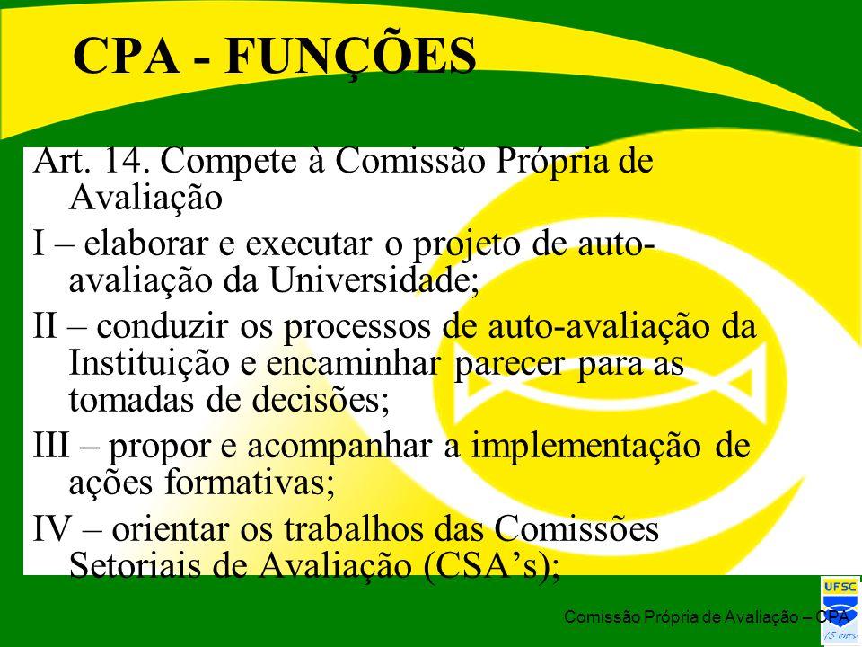 CPA - FUNÇÕES Art. 14. Compete à Comissão Própria de Avaliação I – elaborar e executar o projeto de auto- avaliação da Universidade; II – conduzir os