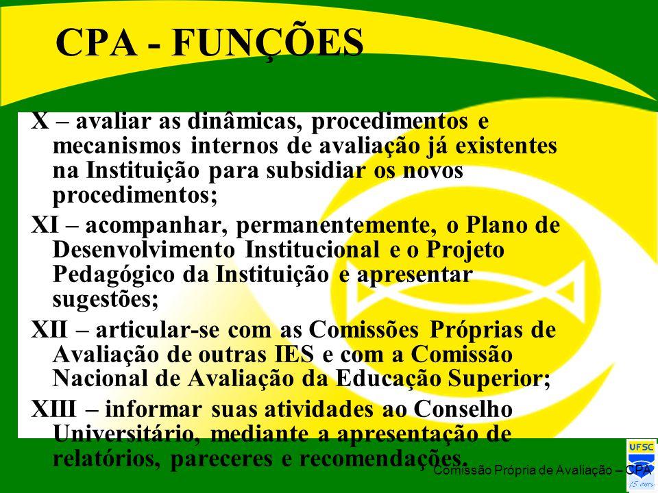 CPA - FUNÇÕES X – avaliar as dinâmicas, procedimentos e mecanismos internos de avaliação já existentes na Instituição para subsidiar os novos procedim