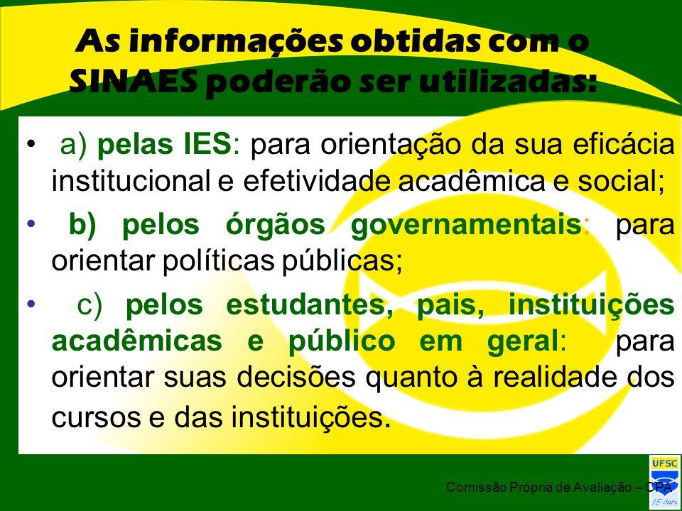 As informações obtidas com o SINAES poderão ser utilizadas: a) pelas IES: para orientação da sua eficácia institucional e efetividade acadêmica e soci