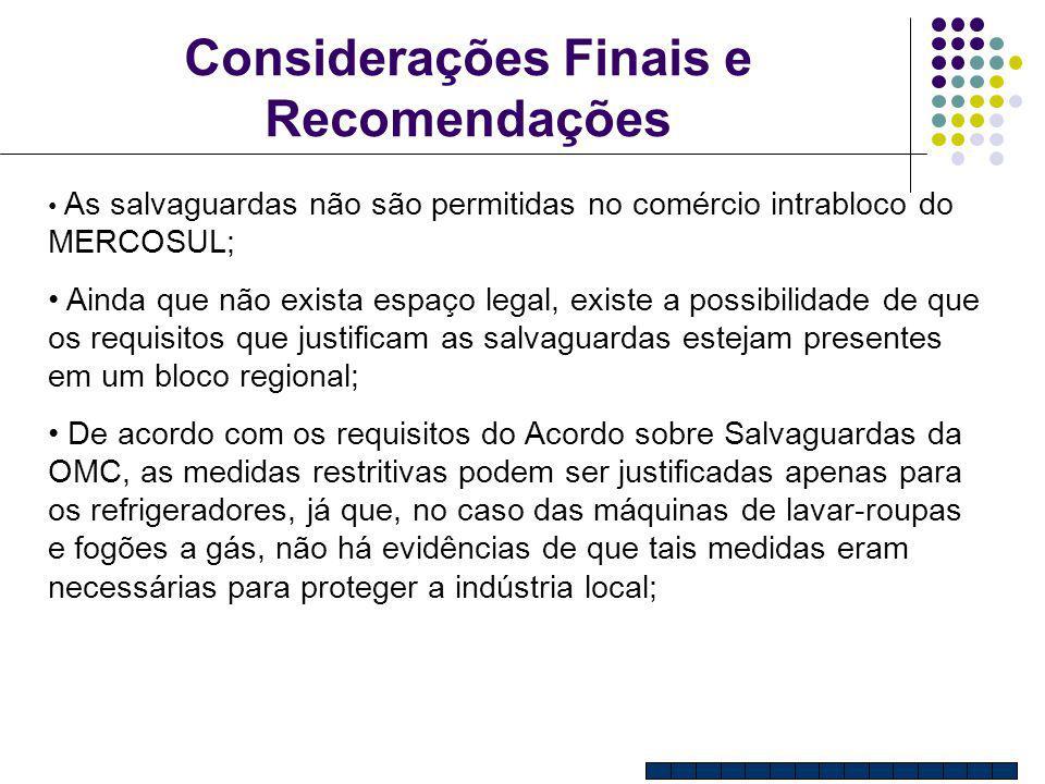 Considerações Finais e Recomendações As salvaguardas não são permitidas no comércio intrabloco do MERCOSUL; Ainda que não exista espaço legal, existe