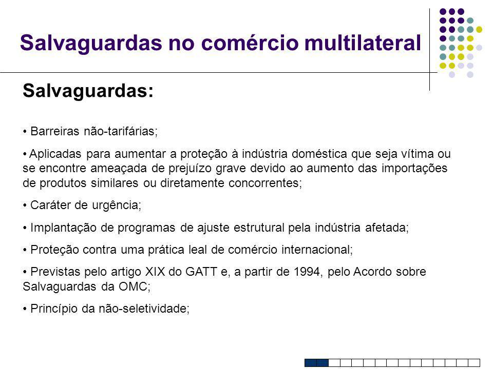 Salvaguardas no comércio multilateral Salvaguardas: Barreiras não-tarifárias; Aplicadas para aumentar a proteção à indústria doméstica que seja vítima