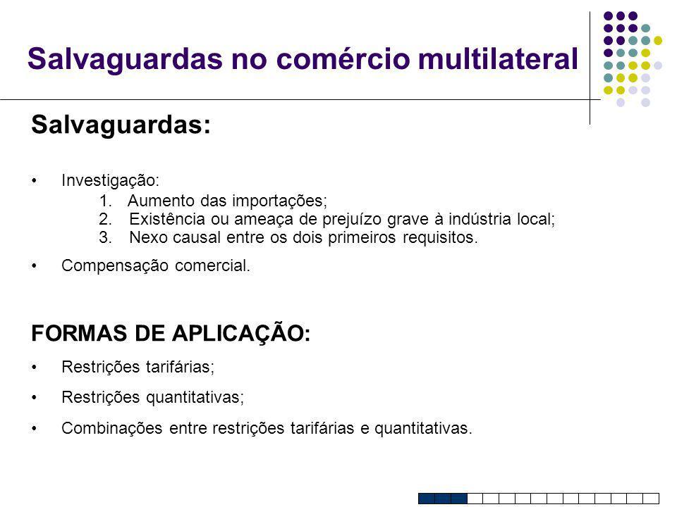 Salvaguardas no comércio multilateral Salvaguardas: Investigação: 1. Aumento das importações; 2. Existência ou ameaça de prejuízo grave à indústria lo