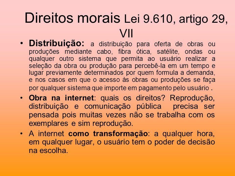 Direitos morais Lei 9.610, artigo 29, VII Distribuição: a distribuição para oferta de obras ou produções mediante cabo, fibra ótica, satélite, ondas o