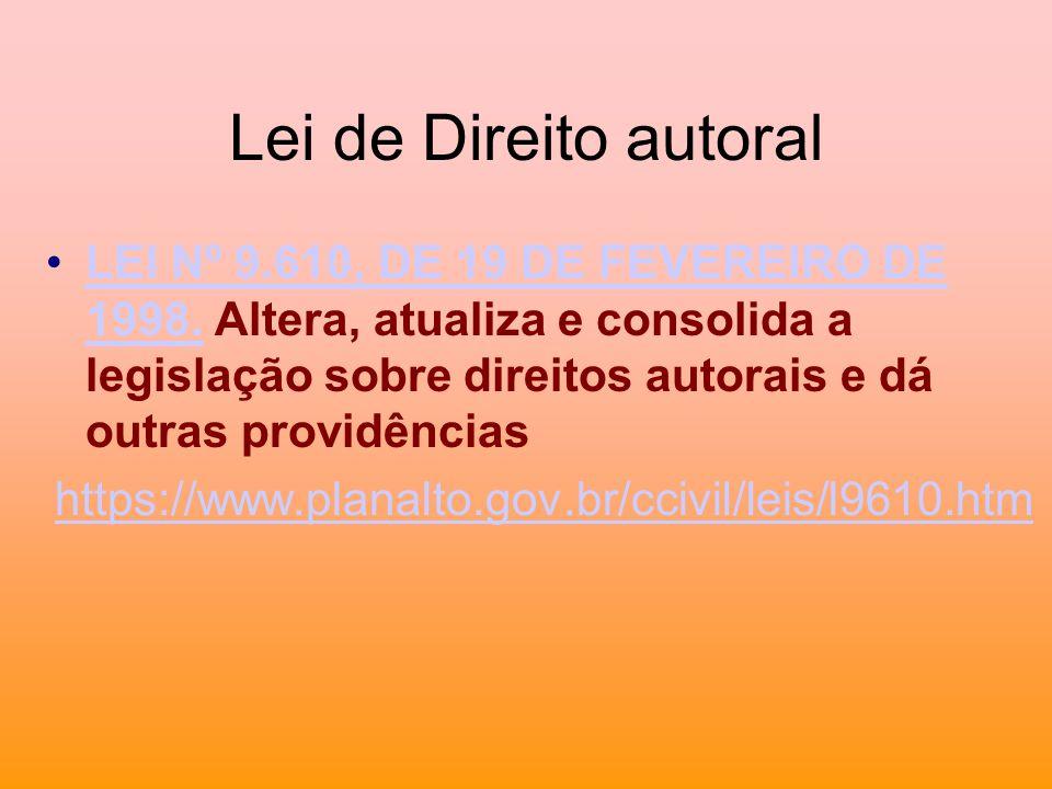 Lei de Direito autoral LEI Nº 9.610, DE 19 DE FEVEREIRO DE 1998. Altera, atualiza e consolida a legislação sobre direitos autorais e dá outras providê