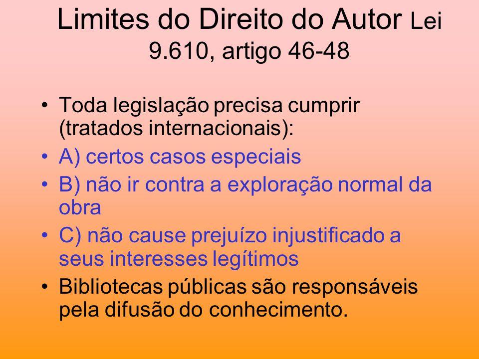Limites do Direito do Autor Lei 9.610, artigo 46-48 Toda legislação precisa cumprir (tratados internacionais): A) certos casos especiais B) não ir con