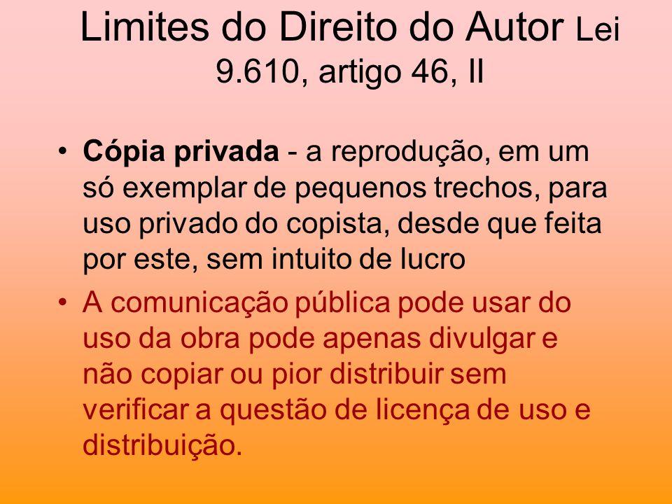 Limites do Direito do Autor Lei 9.610, artigo 46, II Cópia privada - a reprodução, em um só exemplar de pequenos trechos, para uso privado do copista,
