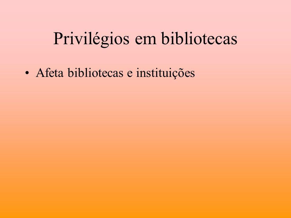 Privilégios em bibliotecas Afeta bibliotecas e instituições