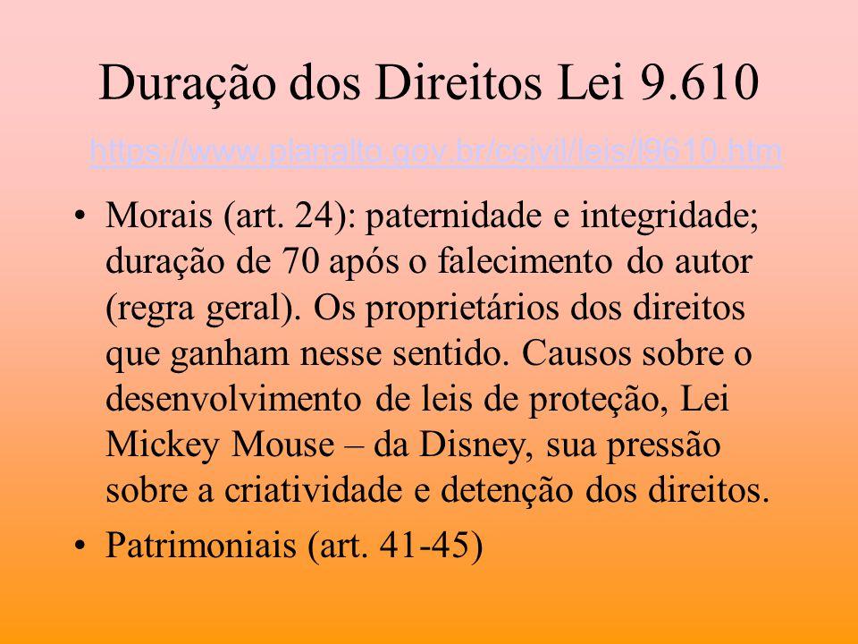 Duração dos Direitos Lei 9.610 https://www.planalto.gov.br/ccivil/leis/l9610.htm https://www.planalto.gov.br/ccivil/leis/l9610.htm Morais (art. 24): p
