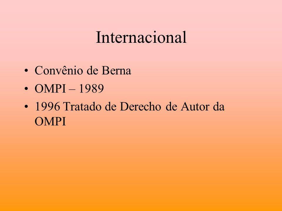 Internacional Convênio de Berna OMPI – 1989 1996 Tratado de Derecho de Autor da OMPI