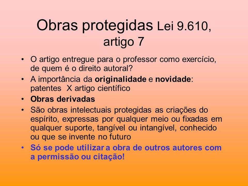 Obras protegidas Lei 9.610, artigo 7 O artigo entregue para o professor como exercício, de quem é o direito autoral? A importância da originalidade e