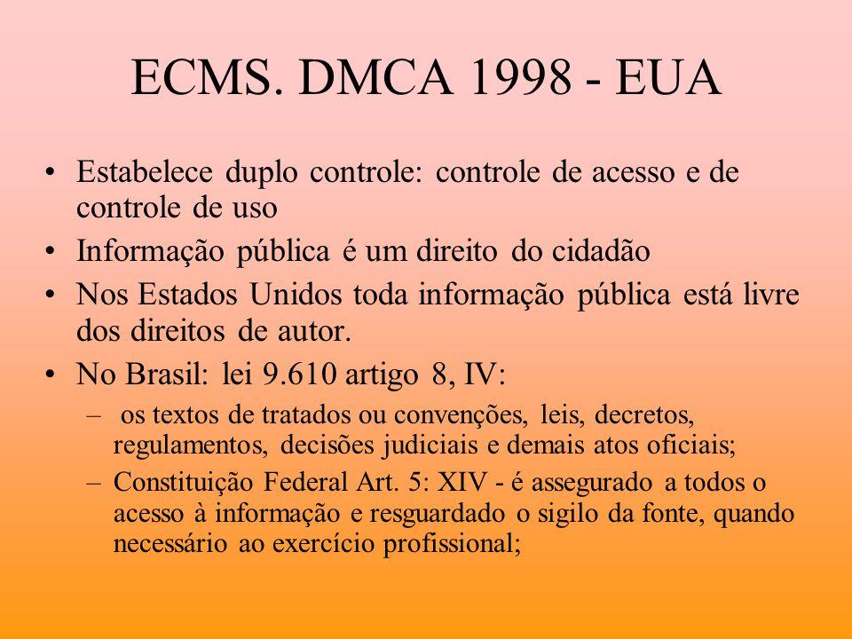 ECMS. DMCA 1998 - EUA Estabelece duplo controle: controle de acesso e de controle de uso Informação pública é um direito do cidadão Nos Estados Unidos