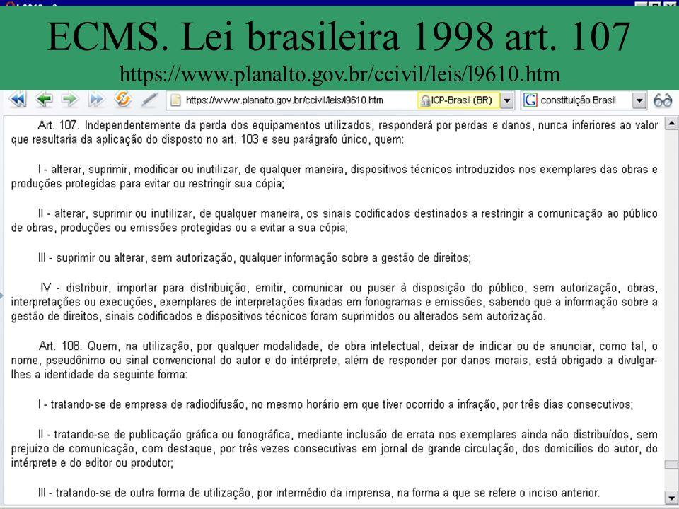 ECMS. Lei brasileira 1998 art. 107 https://www.planalto.gov.br/ccivil/leis/l9610.htm