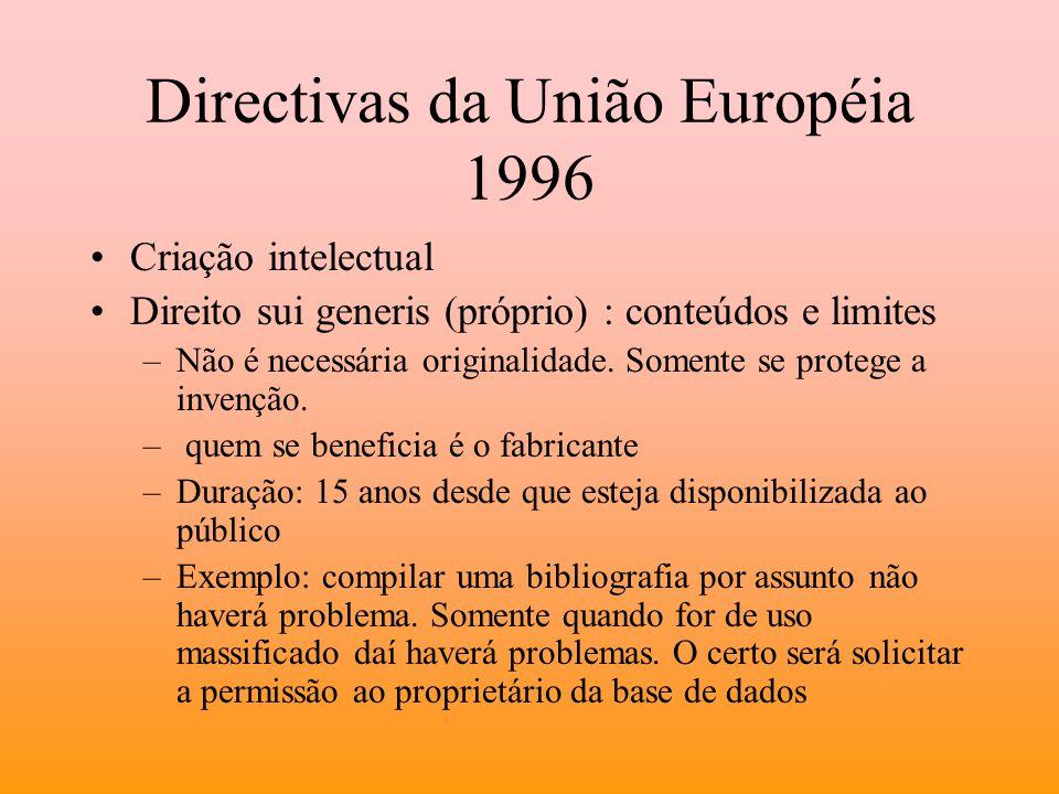 Directivas da União Européia 1996 Criação intelectual Direito sui generis (próprio) : conteúdos e limites –Não é necessária originalidade. Somente se