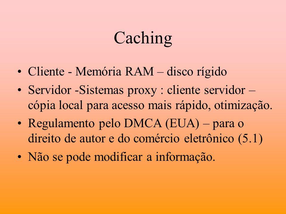 Caching Cliente - Memória RAM – disco rígido Servidor -Sistemas proxy : cliente servidor – cópia local para acesso mais rápido, otimização. Regulament