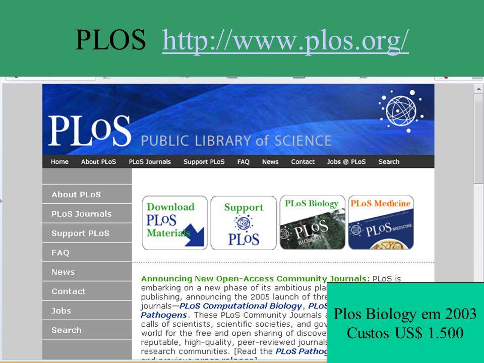 PLOS http://www.plos.org/http://www.plos.org/ Plos Biology em 2003 Custos US$ 1.500