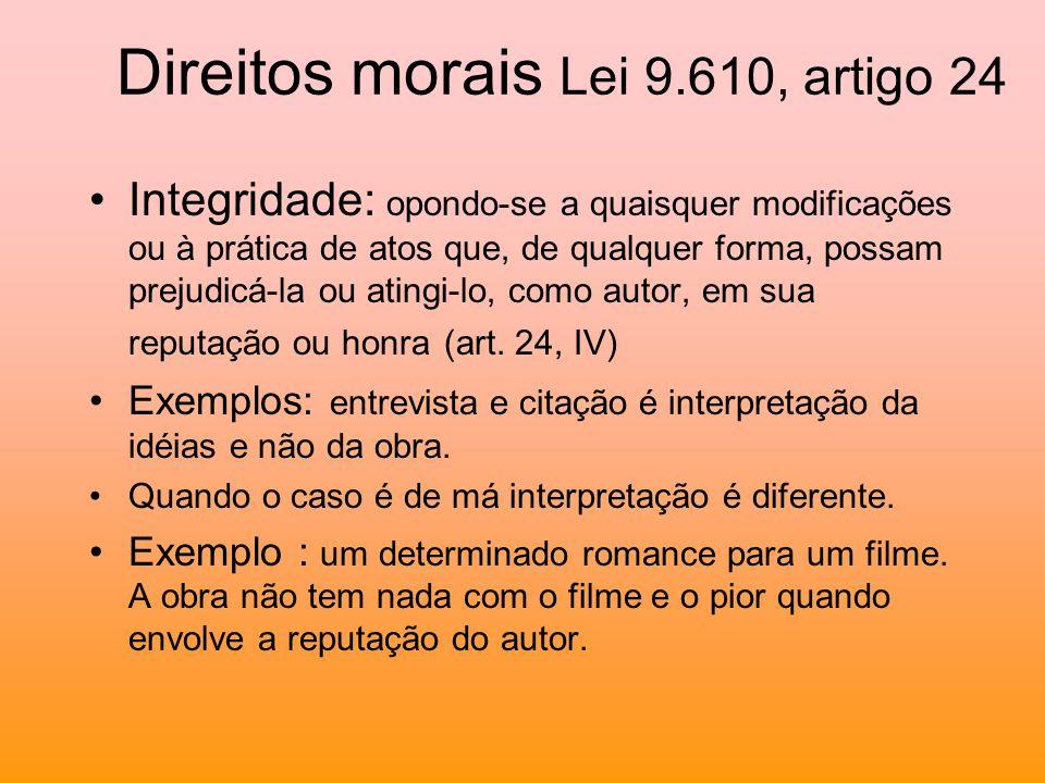 Direitos morais Lei 9.610, artigo 24 Integridade: opondo-se a quaisquer modificações ou à prática de atos que, de qualquer forma, possam prejudicá-la