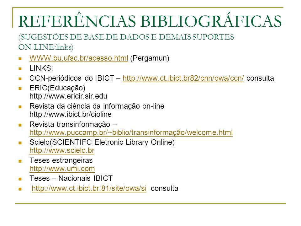REFERÊNCIAS BIBLIOGRÁFICAS (BASE DE DADOS E LINKS) Periódicos capes http://www.capes.gov.br http://www.capes.gov.br BIREME http://www.bireme.br http://www.bireme COMPENDEX http://www.engineeringvillage2.org http://www.engineering