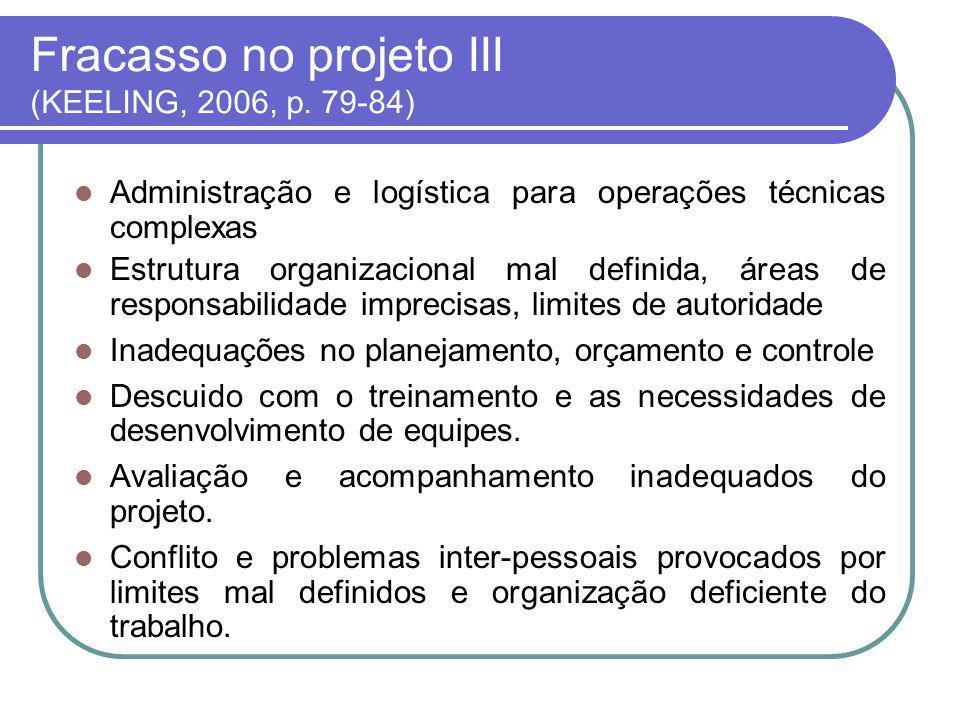 Fatores de Sucesso I (KEELING, 2006, p.