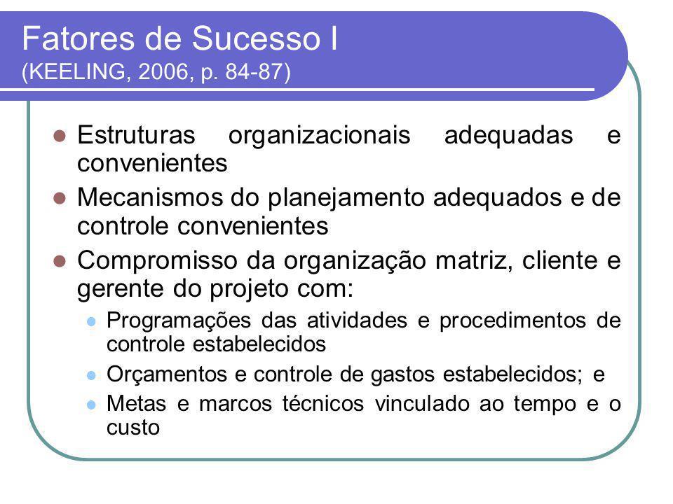 Fatores de Sucesso II ( KEELING, 2006, p.