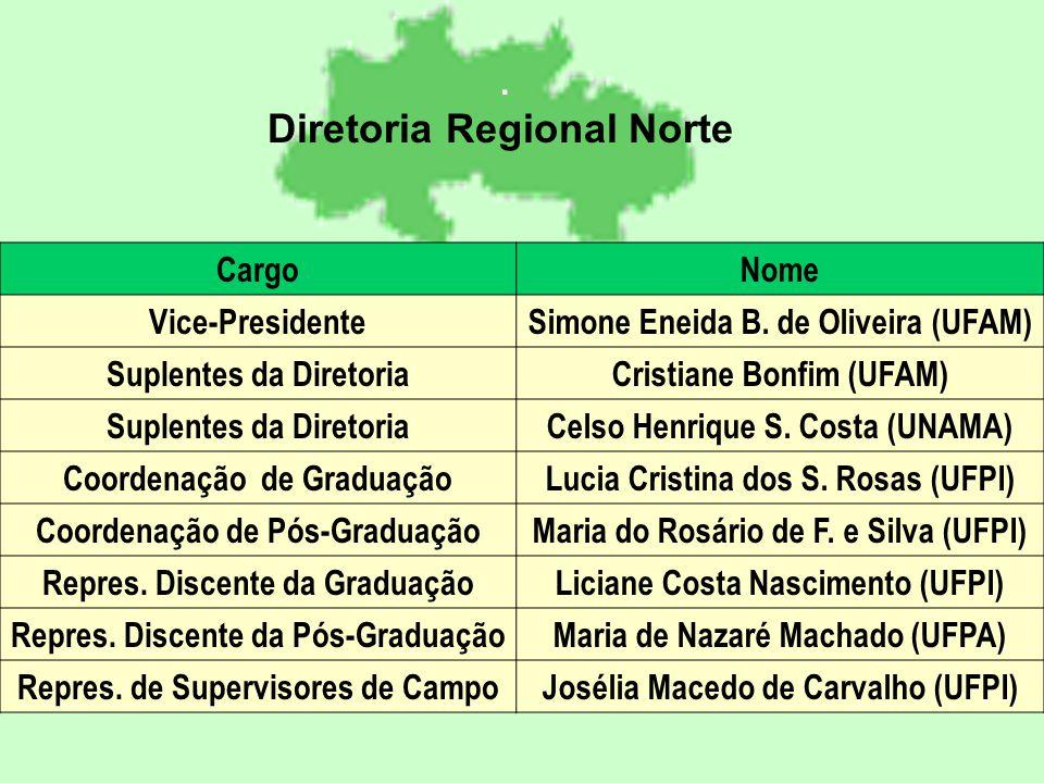 Diretoria Regional Norte. CargoNome Vice-PresidenteSimone Eneida B.